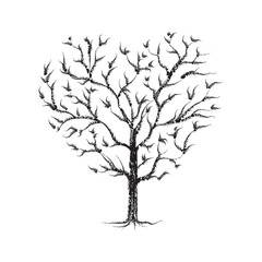 Heart Tree chalk sketched - black on white