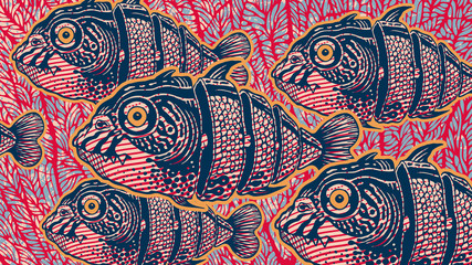 Surreal Design With Hand Drawn Fishs Cut Into Slices And Abstract Background With Coral. Vector Illustration. aspect ratio 16:9
