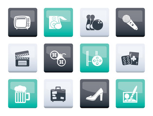 Leisure activity and objects icons over color background - vector icon set