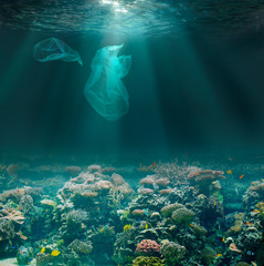 Sea bed underwater with plastic bags. Environment pollution ecological problem.