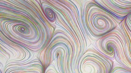 Papiers peints Spirale Smooth curles from colorful strings on white background