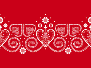 Folklore floral Nordic Scandinavian pattern vector. Border ethnic ornament with hearts and flowers. Norwegian, Finnish, Danish and Swedish embroidery style holiday decoration.
