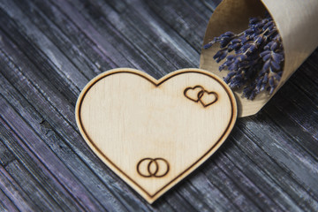 Wooden heart. Place to write. Lavender bouquet. Copy space