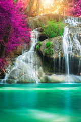 Ingelijste posters Watervallen Amazing in nature, beautiful waterfall at colorful autumn forest in fall season