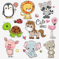 Set of Cartoon Animals on white background
