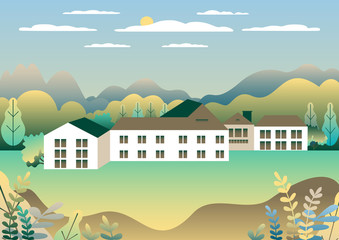 Poster Groene koraal Rural valley Farm countryside. Village landscape with ranch in flat style design. Landscape with detached house farm one family, barn, building, hills, tree, background cartoon vector illustration