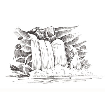 Waterfall  sketch, cascade waterfall in the rocks hand-drawn  illustration, landscape with a waterfall, black and white sketch isolated on white background for your design