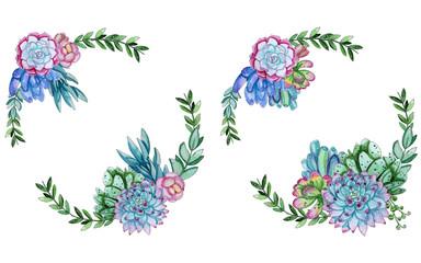 Watercolor succulent flowers template.