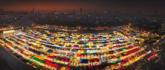 Ratchada Night market in Bangkok during sunset