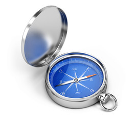 Blue Compass isolated on white background. 3d rendering