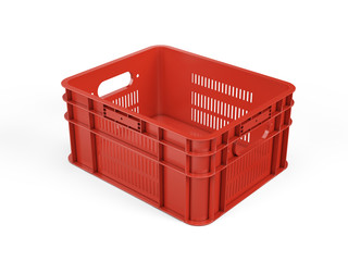 Empty red plastic crate for fruits and vegetables isolated on white. 3d rendering