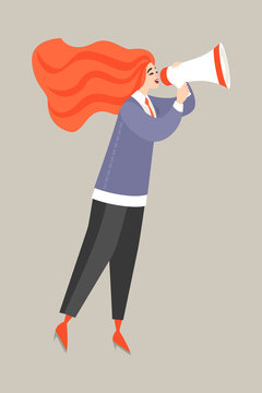 Vector illustration of a young red-haired woman talking by megaphone