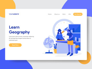 Landing page template of Learn Geography Illustration Concept. Modern flat design concept of web page design for website and mobile website.Vector illustration