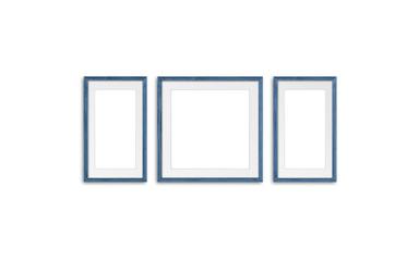 Blank photo frames mock up, three grey blue realistic wooden frameworks on white background