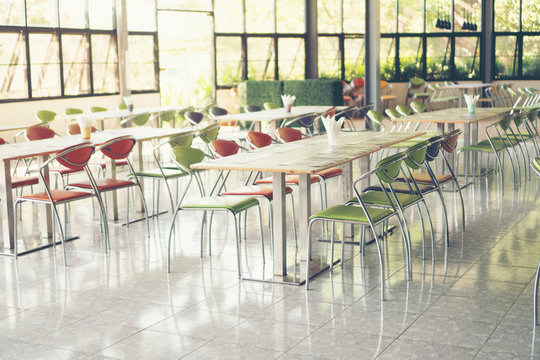 Tables and chairs empty in canteen