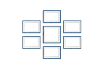Photo frames collage, seven grey blue realistic wooden frameworks on white background