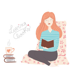 Woman in relaxation reading a book with a coffee or tea mug on a pillow - vector illustration isolated on white background
