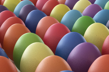 Easter eggs in perspective view without background