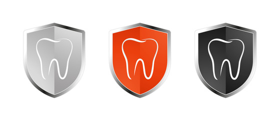 Tooth Healthcare Security Shield Set - Insurance Symbol - Editable Vector Illustration - Isolated On White Background
