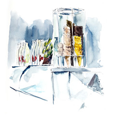 Ice-cream parlour. Watercolor hand drawn illustration