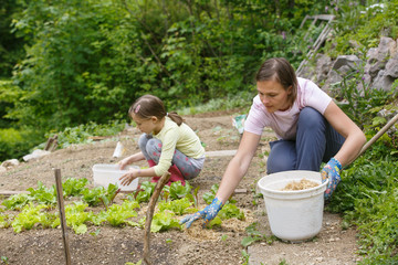 Mother and daughter working in the vegetable garden