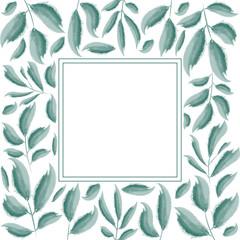 Green leaves frame design. Design for logo, greeting card, wedding invitation. Vector illustration