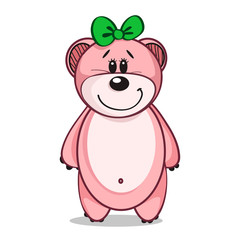 cute pink bear cub on white background