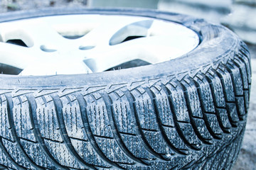 Car tires and wheels with wheels for auto background