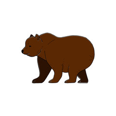 Bear vector drawing, hand drawn picture of a big brown bear, vector illustration isolated on white background for your design