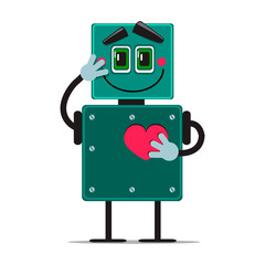 iron cute robot in love. vector illustration on white background. cartoon character holding a heart