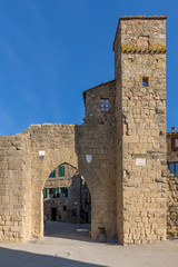The beautiful ancient gate of the medieval village of Monticchiello, Siena, Tuscany, Italy