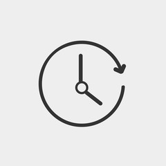 Clock with arrow rotating vector icon