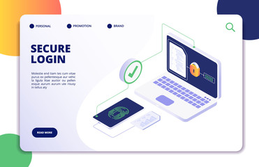 Authentication isometric concept. Password, login authorization fingerprint access. Data safe and protection landing vector page. Illustration of login verification approvement, authorize