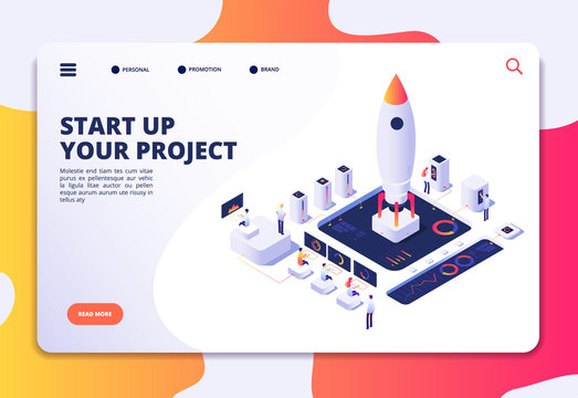 Startup landing page. Successful project launch, isometric rocket people at dashboard. Creative business, customized vector design. Illustration of rocket startup in business, isometric launch