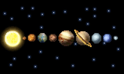 The Solar system in a retro 8 bit arcade video game pixel art style.