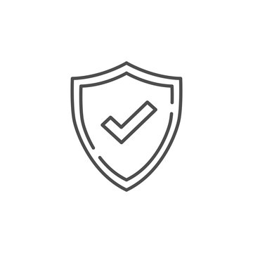 Check mark line vector icon. Accepted or Approve sign. Tick shield symbol. Quality design flat app element. Vector illustration on white background.