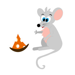 Funny  gray with pink ears cartoon mouse with a piece of cheese isolated on white background Flet style painted. Cartoon mice and cheese. Color beautiful vector illustration.