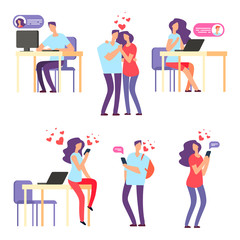 Vector online romantic dating. Man and woman, cute couple using mobile application for talking and love relationship. Woman and man dating, communication smartphone illustration