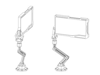 Robotic arm with futuristic monitor. Vector outline illustration.