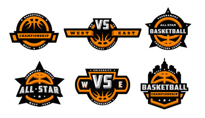 Set of basketball logos, emblems, labels. Vector illustration.
