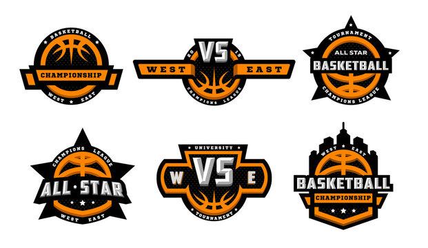 Set of basketball logos, emblems, labels. Vector illustration.