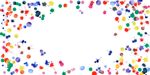 Watercolor confetti on white background. Rainbow colored blobs wide vignette. Colorful bright hand painted illustration. Happy celebration party background. Bizarre vector illustration.