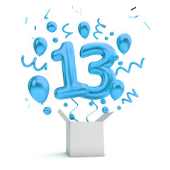Happy 13th birthday blue surprise balloon and box. 3D Rendering
