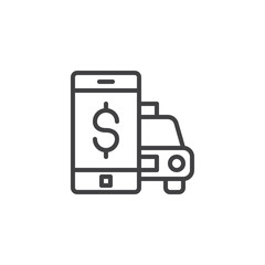 Mobile taxi payment line icon. linear style sign for mobile concept and web design. Smartphone taxi ordering screen outline vector icon. Symbol, logo illustration. Pixel perfect vector graphics