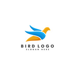 Bird logo template. Animal fly icon design vector