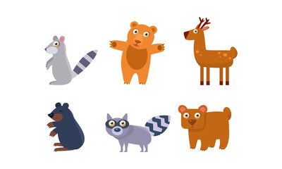 Collection of wild forest animals, raccoon, bear, deer, mole vector Illustration