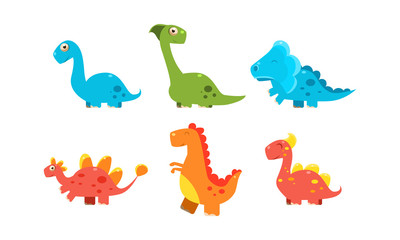 Collection of cute cartoon dinosaurs, funny colorful dino characters vector Illustration