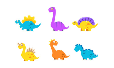 Collection of cute cartoon dinosaurs, colorful happy dino characters vector Illustration