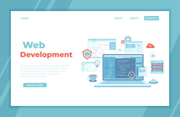Web Development Programming Coding. laptop with program code on the screen, virtual screens, infographic elements  icons. Bug fixing. landing page template or web banner.