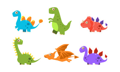 Collection of colorful cute dinosaurs, happy cartoon dino characters vector Illustration